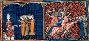 Papa Inocêncio III excomungando os albigineses. Massacre dos albigineses pelos Cruzados. Iluminura das Crônicas de Saint Dennis.
